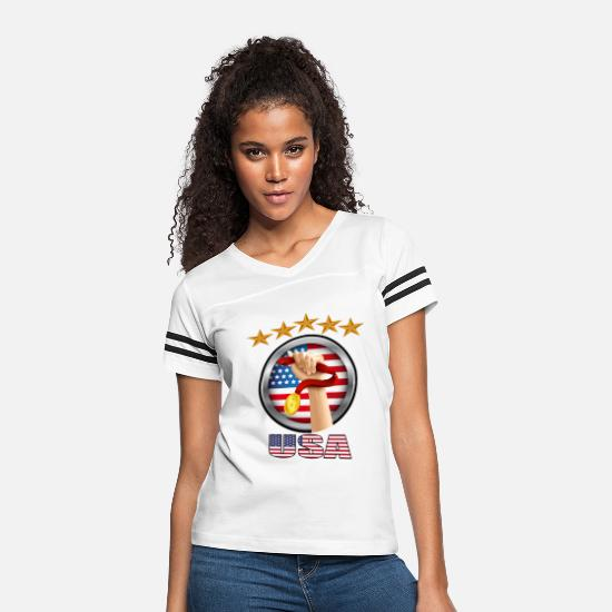Usa T-Shirts - USA first place in sports - Women's Vintage Sport T-Shirt white/black