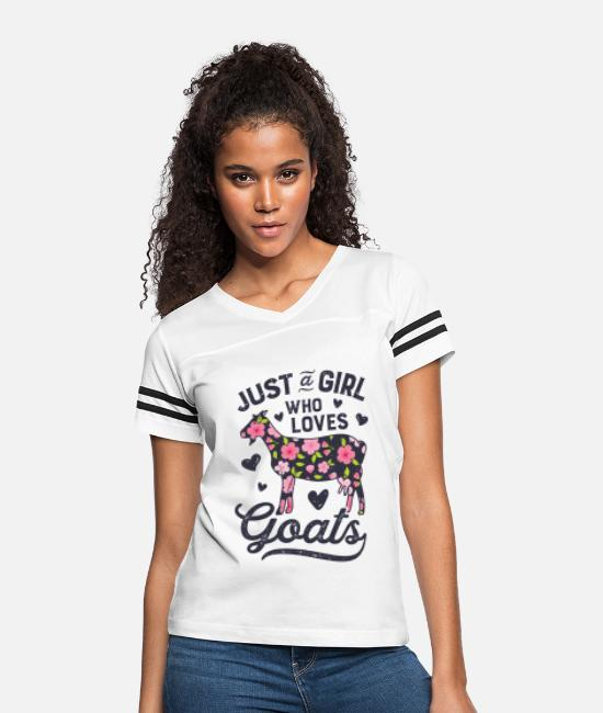 Crazy Goat Lady T-Shirts - Just a Girl who Loves Goats T shirt Goat Farmer - Women's Vintage Sport T-Shirt white/black