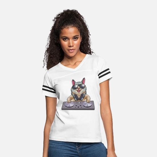 Cat T-Shirts - Cat DJ - Women's Vintage Sport T-Shirt white/black