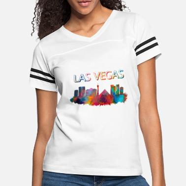 Las Vegas Sin City V Neck Womens Gray Tshirt Striped Sleeve Party Tee Ladies