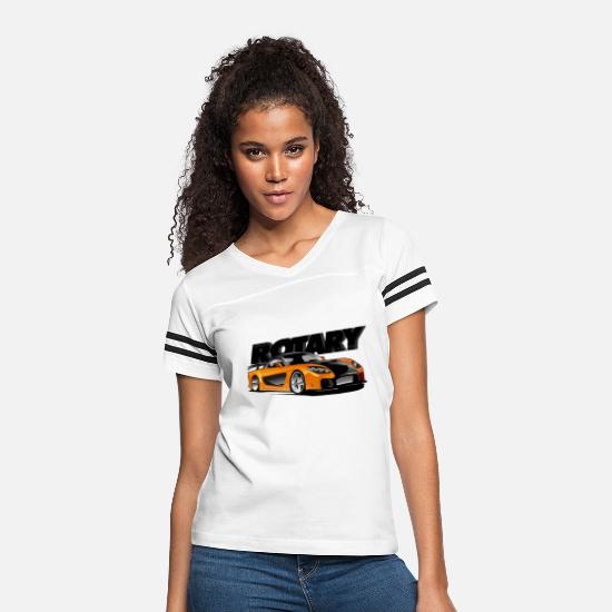 Fast T-Shirts - Fast Furious : Han's Mazda RX 7 - Women's Vintage Sport T-Shirt white/black