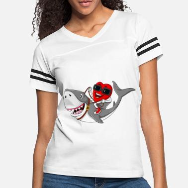 Cuore Heart Riding Shark Valentines Day Funny Boys - Women's Vintage Sport T-Shirt