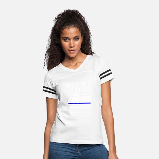 Police Officer T-Shirts - Proud Police Officer Grandmother Policeman Flag - Women's Vintage Sport T-Shirt white/black
