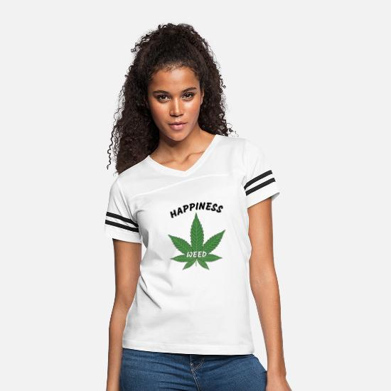 Weed T-Shirts - Happiness Weed - Women's Vintage Sport T-Shirt white/black