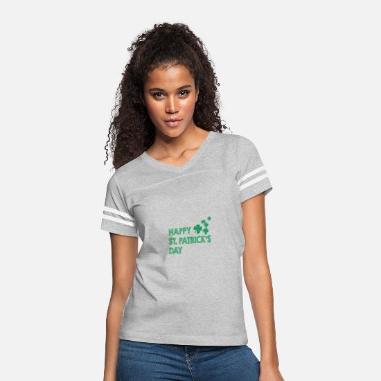 Gift Idea T-Shirts - Happy St Patricks Day Irish Gift Idea Saint Paddy - Women's Vintage Sport T-Shirt heather gray/white