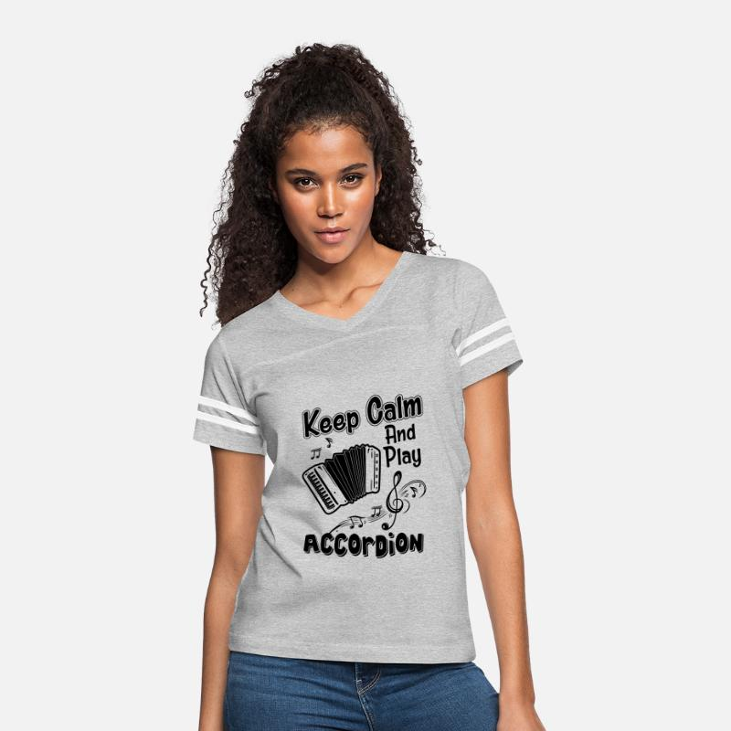 Accordion T-Shirts - Keep Calm And Play Accordion Shirt - Women's Vintage Sport T-Shirt heather gray/white