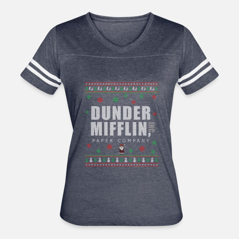 The Office Christmas Sweater.The Office Christmas Ugly Sweater Dunder Mifflin Women S Vintage Sport T Shirt Vintage Navy White