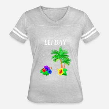 Big Cat Productions Lei Day Flower Shirt Hula Girl Hawaii hibiscus Pal - Women's Vintage Sport T-Shirt