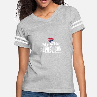 06f0be89a Republican Right Wing Wife Funny Political Joke Liberal Left Wing - Women&# 39;s. Women's Vintage Sport T-Shirt
