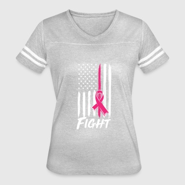 American Cancer Society American Flag Breast Cancer Awareness Fight - Women's Vintage Sport T-Shirt