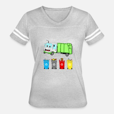 Child Fire Truck FUNNY COMIC TRASH TRUCH KID GIFT GREEN BIRTHDAY - Women's Vintage Sport T-Shirt