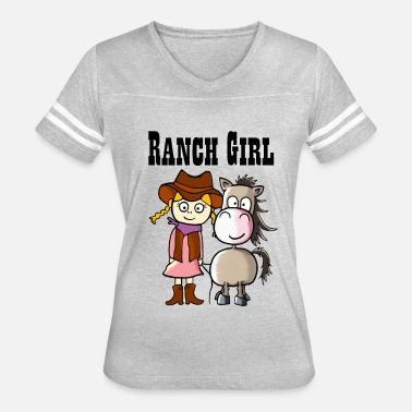Ranch Horse Cute Ranch Girl with Western Horse - Women's Vintage Sport T-Shirt