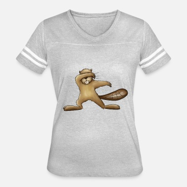 Dabbing Cartoon Dabbing Beaver Dab Funny Silly Cartoon Rodent Gift - Women's Vintage Sport T-Shirt