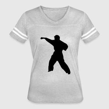 Karate Silhouette Vector Karate fighter silhouette 6 - Women's Vintage Sport T-Shirt