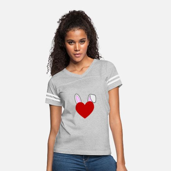 Bunny T-Shirts - Bunny Love Heart Rabbit - Women's Vintage Sport T-Shirt heather gray/white