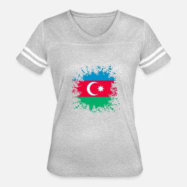 Paint Splashes Azerbaijan Flag Paint Splashes Splash - Women's Vintage Sport T-Shirt