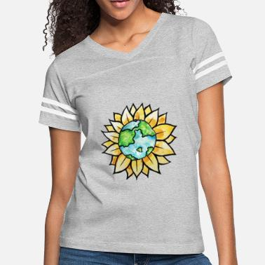 Watercolor Art Sunflower Earth Day Watercolor Art - Women's Vintage Sport T-Shirt