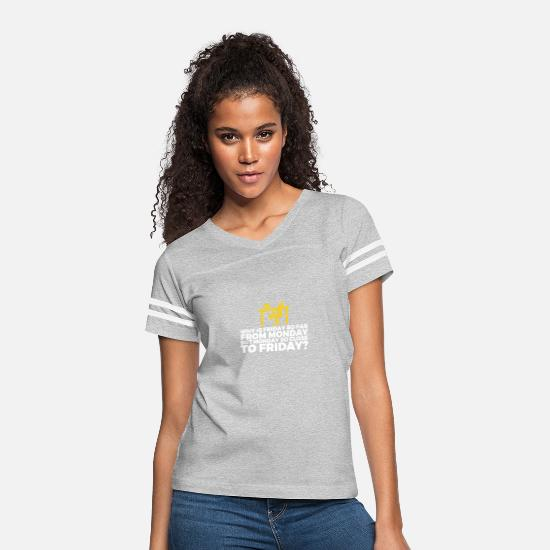 Saturday T-Shirts - Why Is Friday Far From Monday? - Women's Vintage Sport T-Shirt heather gray/white