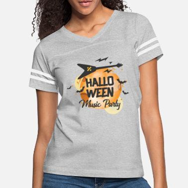 Undead HALLO WEEN MUSIC PARTY - V Guitar Moon Bats Sound - Women's Vintage Sport T-Shirt