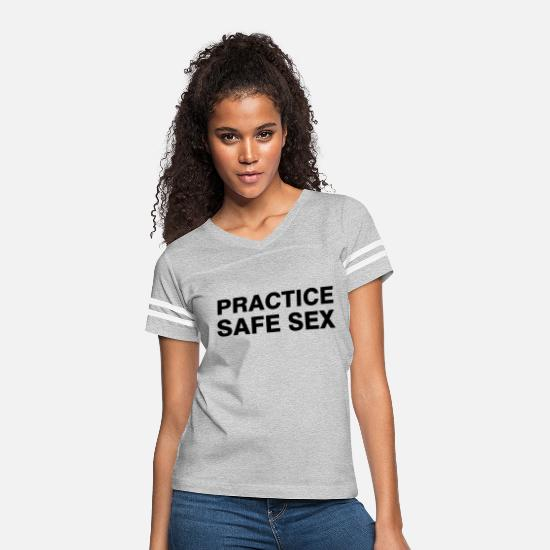 Dirty T-Shirts - PRACTICE SAFE SEX - Women's Vintage Sport T-Shirt heather gray/white