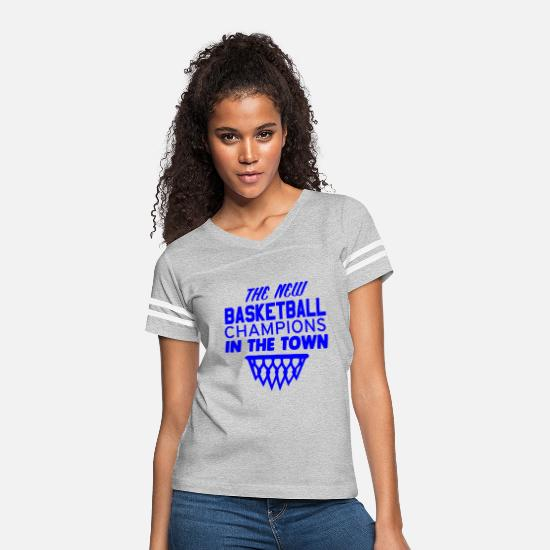 Cool T-Shirts - GIFT - BASKETBALL CHAMPION IN TOWN BLUE - Women's Vintage Sport T-Shirt heather gray/white