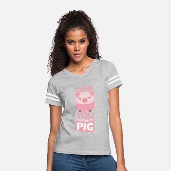 Anti T-Shirts - Oink You Capitalist Pig - Women's Vintage Sport T-Shirt heather gray/white