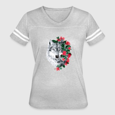 Wolf with Roses - Women's Vintage Sport T-Shirt