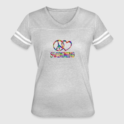 Peace Love Swimming - Women's Vintage Sport T-Shirt