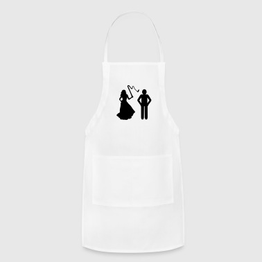 Marriage, Bride with whip & Groom - Adjustable Apron