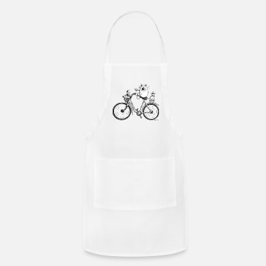 Cartoon Cat And Bird rides a bike - Cartoon - Gift - Funny - Adjustable Apron