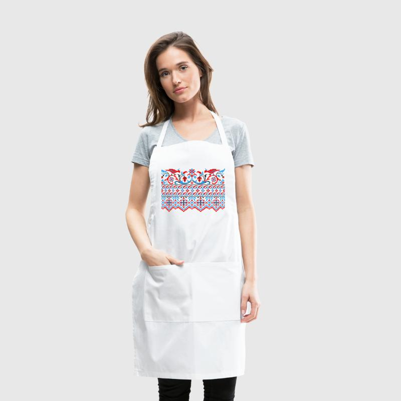 Two colorful cross-stitch birds Wedding engagement - Adjustable Apron