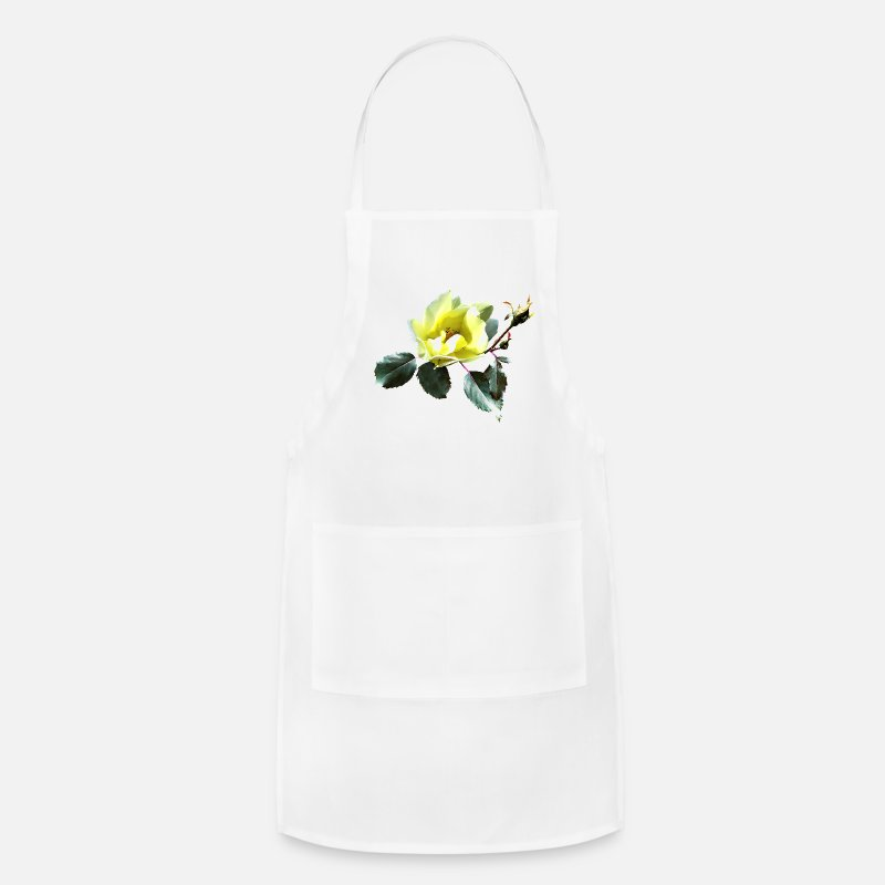Rose  Aprons - Delicate Yellow Rose - Apron white