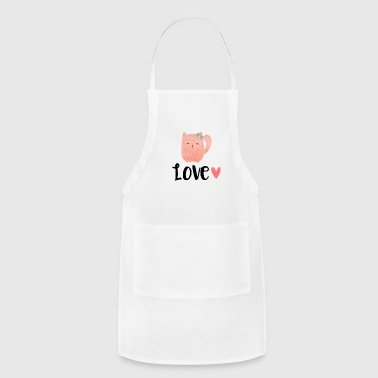 Cat heart pink ribbon - Adjustable Apron