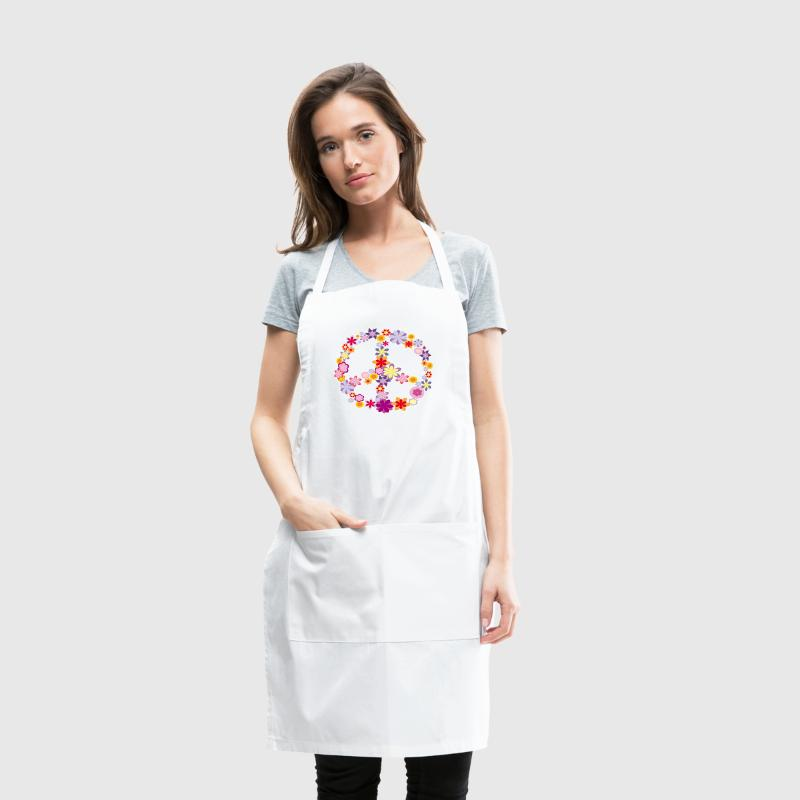Peace symbol with flowers - Adjustable Apron
