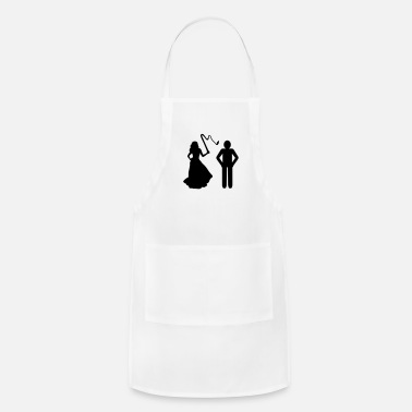 Sado Maso Marriage, Bride with whip & Groom - Adjustable Apron