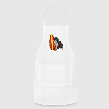 Comic Cute Funny Cool Gorilla Surfboard Monkey Surfing - Adjustable Apron