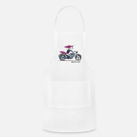 Unicorn Aprons - Badass unicorn on a motorcycle - Apron white