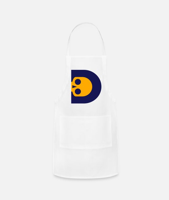 I Love Skull With Initial Alphabet D Vector Design Aprons - ☠♥Awesome Skull Alphabet Initial Letter-D♥☠ - Apron white