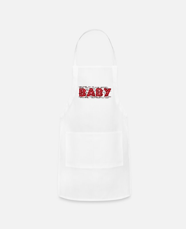 Royal Aprons - baby typography - Apron white
