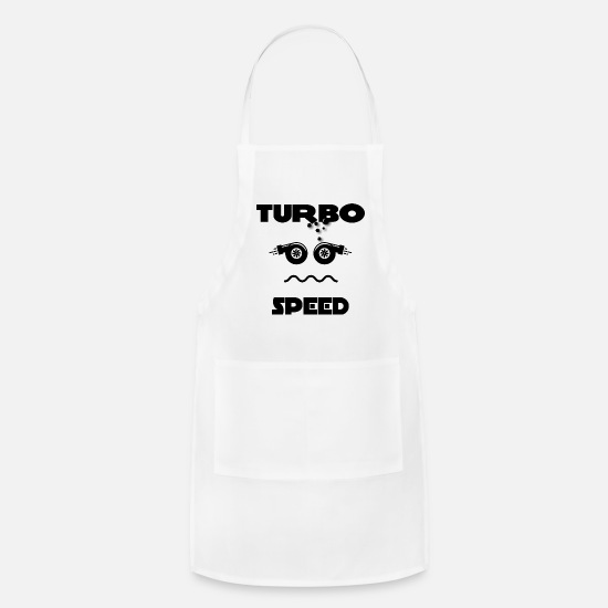 Ps Aprons - Turbo Boost Face. Funny tuner turbo shirt. - Apron white