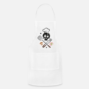 Grill Utensils Skull with Chef Hat and Grilling Utensils - Apron