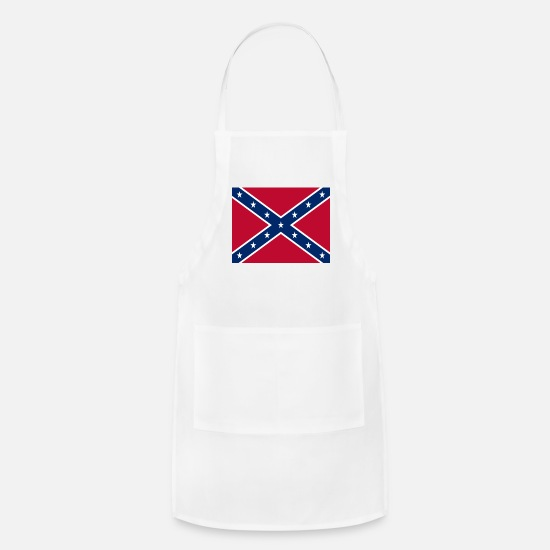 Confederate Aprons - Confederate Flag - Apron white