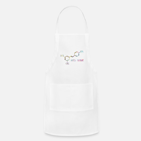 Art Aprons - Red Wine Molecule - Apron white
