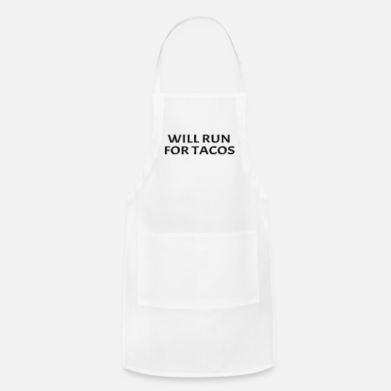 Marathon Aprons - Will Run For Tacos Funny Running Quote Runner - Apron white