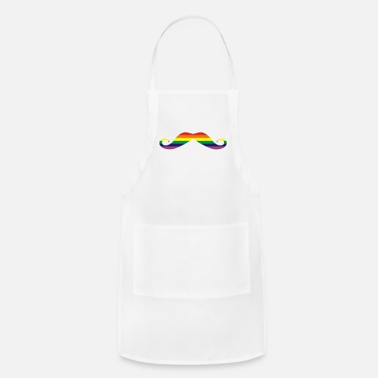 Gay Pride Aprons - Rainbow moustache - Apron white
