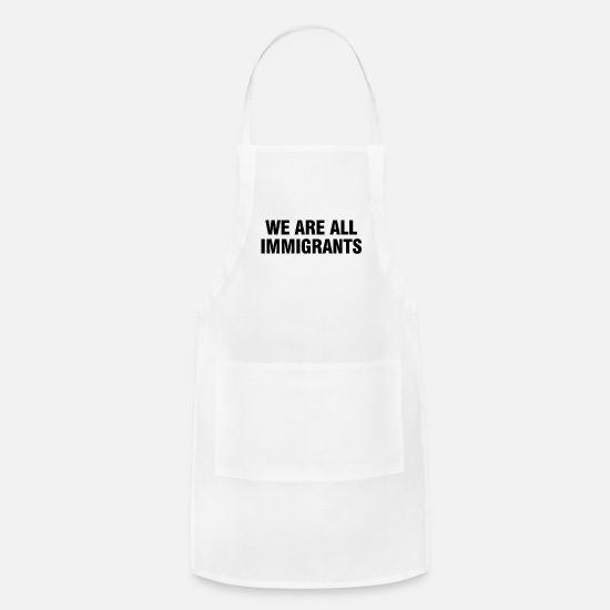 Native American Aprons - We are all immigrants - black - Apron white