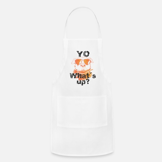 Alpaca Aprons - Yo Whats up? Funny Great Dane Sunglasses Shirt - Apron white