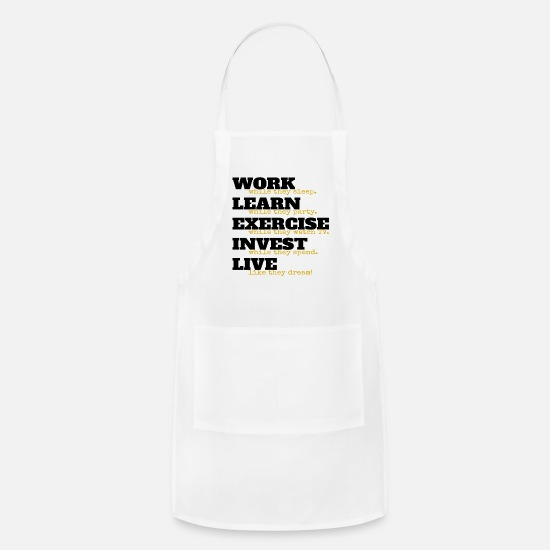 Hustler Aprons - Entrepreneur Investor Hustler Motivational Motto - Apron white