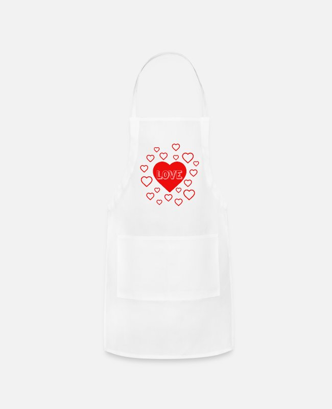 Heart Aprons - LOVE HEARTS - Apron white