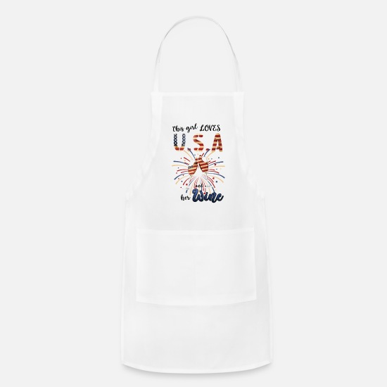 Stars Aprons - This Girl Usa and Her Wine - Apron white